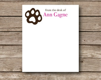 Personalized Notepads, from the desk of, dog theme notepads dog paws, tear off top pads, custom notepads, 50 sheets, set of 2