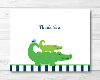 Cute Preppy Alligator Thank You Card / Alligator Baby Shower / Baby Boy / Navy & Blue / Folded Card Template / PRINTABLE Instant Download