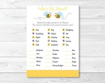 Bumble Bee Who's My Mama? Baby Animal Match Game / Bumble Bee Baby Shower / INSTANT DOWNLOAD
