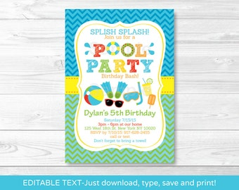 Boys Pool Party Birthday Invitation INSTANT DOWNLOAD Editable PDF