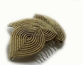 Champagne French beaded leaf hair comb - autumn hair acessory fr the bride or bridesmaid, earthy falling leaves