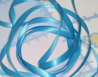 ISLAND BLUE DouBLe FaCeD SaTiN RiBBoN, Polyester 1/4 inch wide, 5 Yards