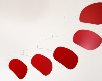 bubblicious in red - hanging art mobile by mark leary