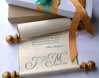 Personalized wedding vows paper scroll, wedding gift, custom printed scroll with monogram, message scroll, anniversary scroll