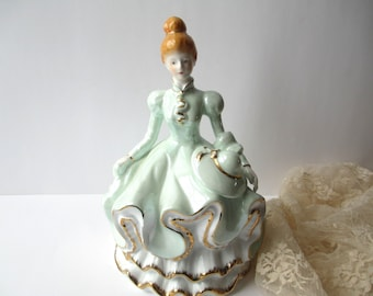 Large Vintage Mint Gold Lovely Lady Figurine, Tea Party Decor