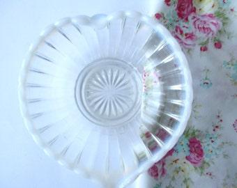 Vintage Oplascent Heart Dish, Cottage Chic, Wedding Decor, Tea Parties