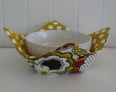 Microwave Fabric Bowl, Fabric Food Warming Bowl,  Ice Cream Bowl, Mod Flowers, Retro Flowers, Gold Polka Dots, Rust and Gold