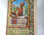 Vintage Book Plate Print, Medieval art, Middle Ages, Illuminated Manuscript print, Book of Hours image, Christian, Catholic ephemera, Death