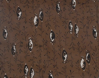 Vintage 50s Fabric - 50s Novelty Print - Novelty Print Fabric - 50s Atomic Fabric - Brown Black White - 50s Abstract Fabric - 50s Fish