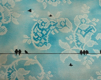 Turquoise Lace Birds on a Wire 2 Original Painting