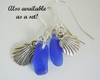 Blue Sea Glass Jewelry Beach Glass Earrings  Seashell