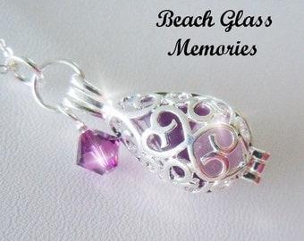 Lavender Seaglass Teardrop Locket - Beach Glass Necklace - Sea Glass Necklace - Pendant Necklace