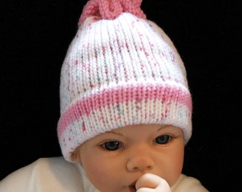 Newborn Baby Hat - Knit Baby Hat - Newborn Knit Hat - Baby Girl Hat - Newborn Girl Hat - Baby Shower Gift - Pink Knit Hat - Knit Hat