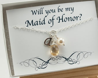 Will You Be My Maid of Honor Gift, Asking Maid of Honor, Citrine Necklace November Birthstone Necklace Gemstone Jewelry Initial Necklace