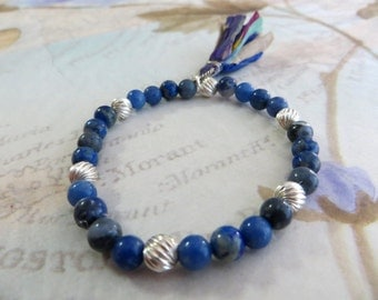 Lapis Energy Bracelet with Sari Silk Tassel, Yoga Jewelry