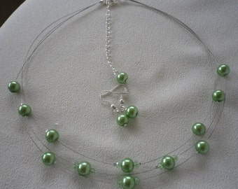 SALE Mint Green Floating Pearls and Crystals Necklace and Earrings