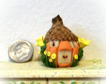 Pumpkin Fairy Hut, Natural Acorn Cap, Rustic Roof, Glow-in-the-Dark Doors, Terrarium Ornament, Miniature, Fantasy Decor, Dollhouse Garden