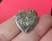 "4 sets (8 charms) ""Mother Daughter"" Heart Puzzle Charms 24x11x1.7mm 24x12x1.7mm hole: 1.8mm"