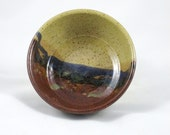 Pottery Bowl in Landscape Design - Tan, Brown, Blue, and Green