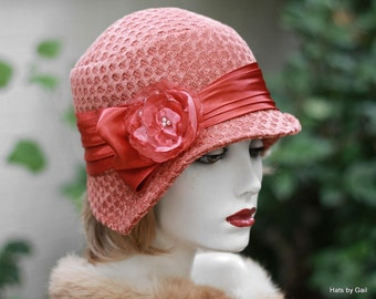 1920's Art Deco Vintage Style Women's Handmade Cloche Hat in Trendy Textured Fabric Rustic Salmon Fall Winter Hats