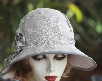 1920s Wedding Hat Silver Grey Wide Brim Sequins Beads Lace Downton Abbey Style Summer Cloche