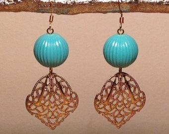 Vintage Turquoise, Brass Filigree Earrings