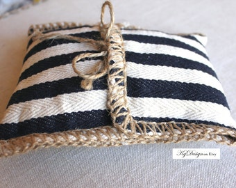 Wedding- Striped ring pillow in oatmeal and navy, twine edge beach, nautical, rustic, classic