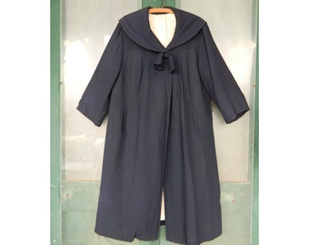 Vintage Portrait Collar Coat Navy Blue Lined