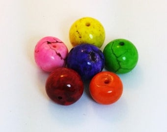 Set of 5 - 2mm Howlite Roundish Beads