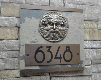 Arts and Crafts Greenman CRAFTSMAN Bungalow ADDRESS Plaque
