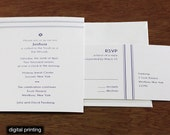 Joshua Letterpress or Digital Bar or Bat Mitzvah Invitations - Set of 100