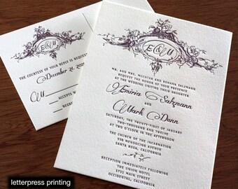 Emiria Letterpress or Digital Wedding Invitations - Set of 100
