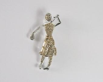 Lady Golfer Rhinestone Brooch Vintage 50s Jewelry