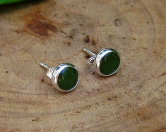 Handmade Green Nephrite Jade Sterling Silver Studs Post Earrings 6mm READY TO SHIP