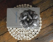 repurposed jello mold jar topper ~ grey flower