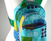 Sale Sling Pack in Turquoise Bicycles Fabric Ready to Ship