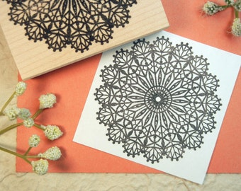 Lace Doily Rubber Stamp - Original Art by Blossom Stamps