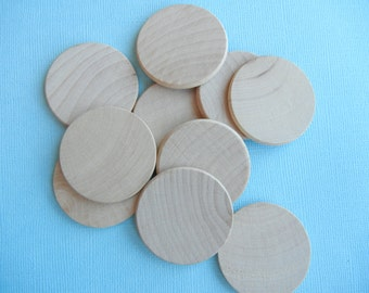 "25 Wood Circles Discs with rounded edge  1"" x 1/8""   Unfinished Round Wood Blanks"