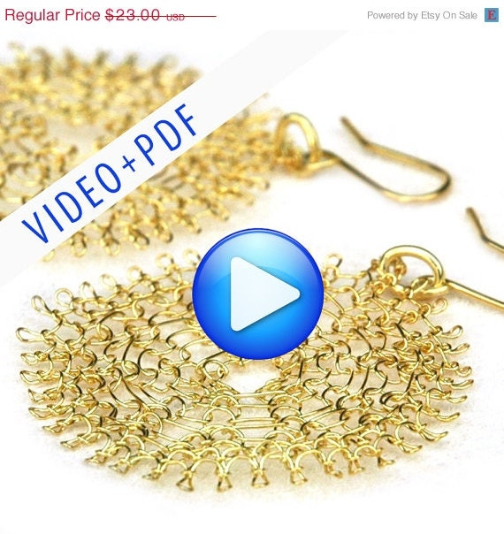 Holiday SALE - Wire Jewelry Crochet Pattern of YoolaFlower, ONLINE  VIDEO pattern and a Pdf file