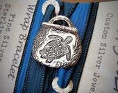 Nautical Beach Jewelry, Nautical Bracelet, Baby Sea Turtle Jewelry, Sea Turtle Bracelet, Silk Wrap Bracelet Nautical Fashion Bracelet