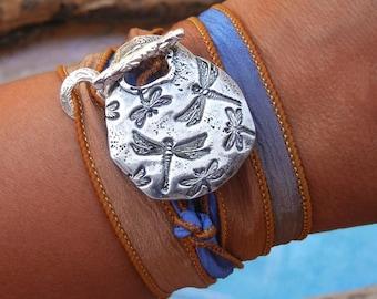 Dragonfly Jewelry, Silk Wrap Bracelet, Dragonflies Bracelet, Sterling Silver Dragonfly Jewelry Gift for Her