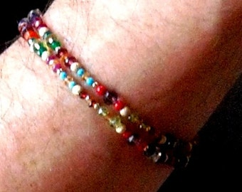 Gemstone, pearl crystal with gold or silver combo bracelets to order