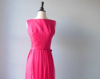 Strawberry bubblegum dress • vintage 1960s dress • silk chiffon 60s dress