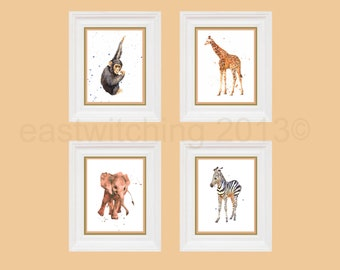 Safari Nursery Animal prints, 8x10 print, orange nursery, kids room, ready to frame