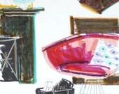 Pink Platner Chair, Sketch of Interior, Chair Print, Mid Century Modern, Platner, Illustration, Mini Art