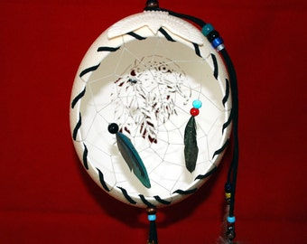 Hand Carved Ostrich Egg Dream Catcher - with Eagle