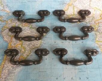 SALE! 6 vintage black brass metal chunky pull handles