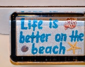 "Glass Paperweight ""Life is better on the beach"". Seashell and beach decorated sand Mosaic."