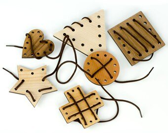 Geometric Lacing Toy, 6 piece