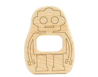 Robot Wood Toy Teether - Baby Teether - Wooden Teether - Robot Toy - Handmade Wooden Toy - Play Robot - Teething Toy - Wood Robot -TE39